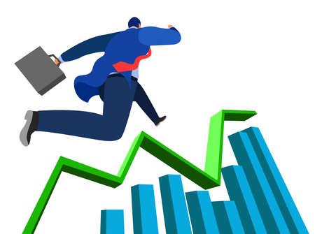 successful businessman and run climbing the bar chart