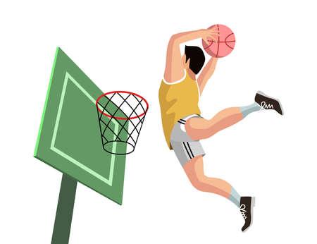 illustration of basketball player shooting into the net
