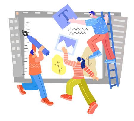 Vector illustration of group of graphic designers designing content  イラスト・ベクター素材