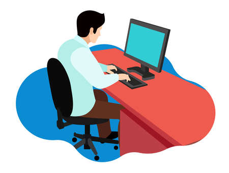 flat vector illustration of an employee working in a computer typing office  イラスト・ベクター素材