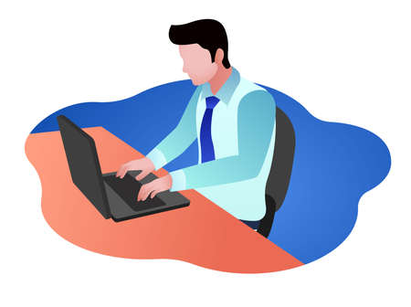 flat vector illustration of an employee working with a laptop in an office  イラスト・ベクター素材