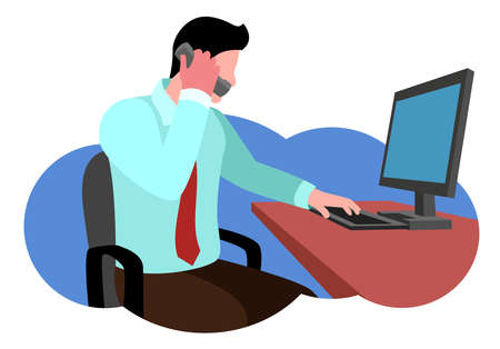 flat vector illustration of an employee calling another division within a company Illustration