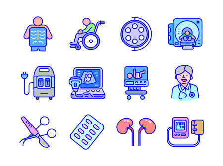 Advanced design Healthcare and Medical vector filed colored line icons style 2 vol 2