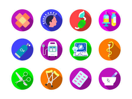 Advanced design Healthcare and Medical vector flat color long shadow with circle background icons, style 2 vol 2, suitable for web, mobile apps and etc. Иллюстрация