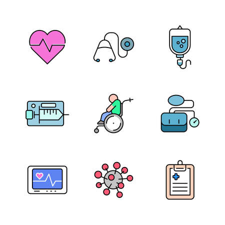 Outline hospital and medical icon design vol 2, with filled colors, can be used for web icons , app, printing etc.
