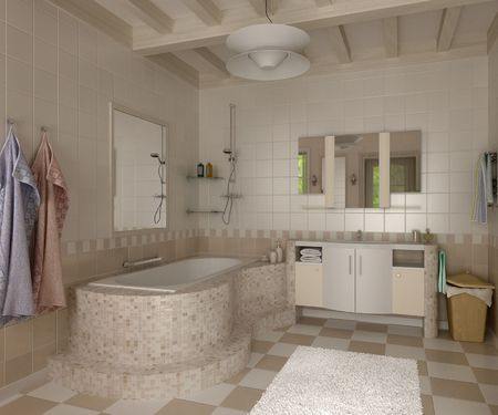 3D Bathroom With Toilet And Shower In The Yellow Tile Stock Photo, Picture  And Royalty Free Image. Image 7124580.