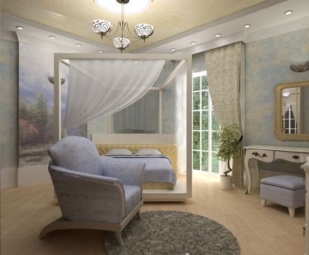 3D interior bedrooms with bed and a window to the street Stock Photo - 7124585