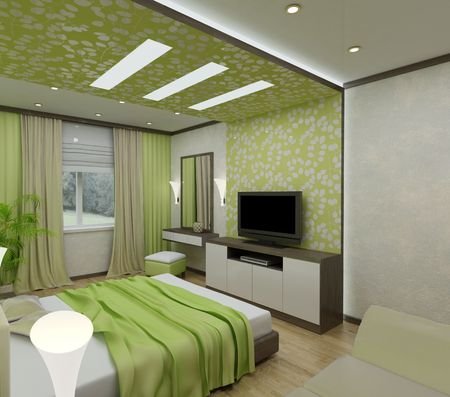 bedroom: 3D interior bedrooms with bed and a window to the street Stock Photo