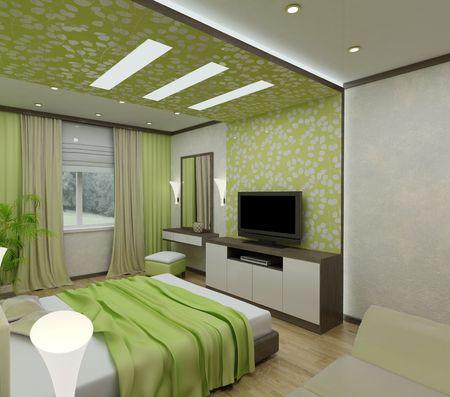 chambre � � coucher: Chambres int�rieurs 3D avec lit et une fen�tre � la rue.