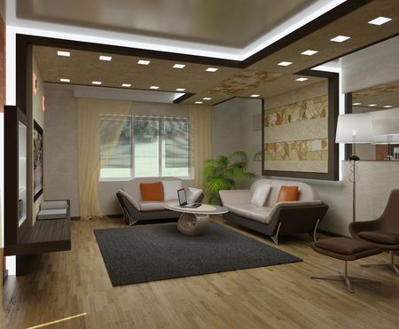3D interior apartments with a sofa, an armchair photo