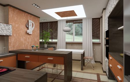 Simulation of 3D kitchen interior in bright colors photo