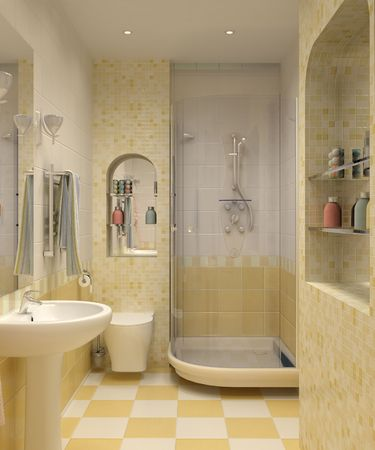 3D Bathroom With Toilet And Shower In The Yellow Tile Stock Photo, Picture  And Royalty Free Image. Image 7124577.