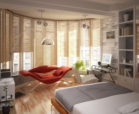 lamp window: interior of the apartment with a bed and workplace Stock Photo