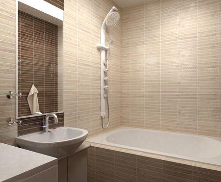 salle de bains: Salle de bain avec toilettes et douche dans la mosa�que jaune Banque d'images