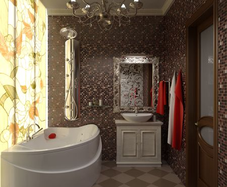 illustration interior beautiful bathroom with a toilet and shower illustration