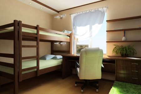 nursery room: interior illustrated childrens room in an apartment with furniture and window