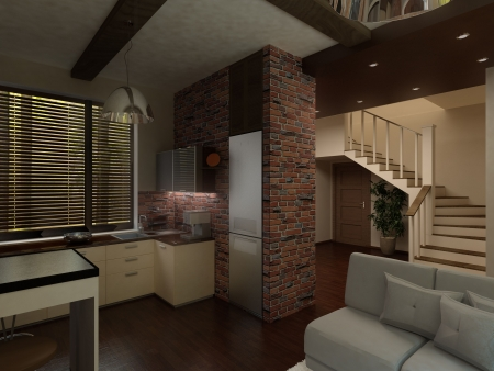 illustration interior furnished apartments with kitchen and stairs to the second floor Stock Illustration - 7185623
