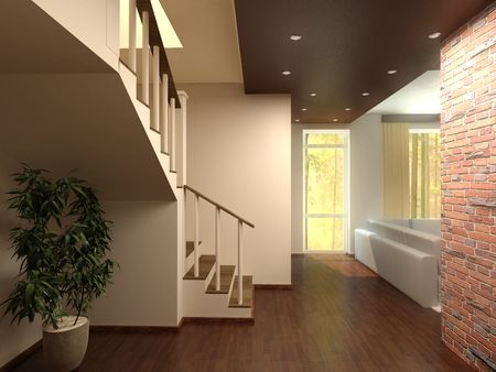 stairs interior: illustration comfortably furnished house with interior stairs to the second floor