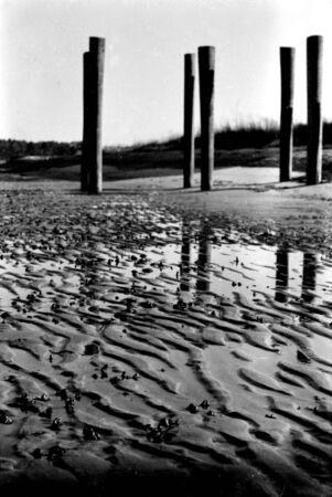 Picture of a small beach during low tide Stock Photo