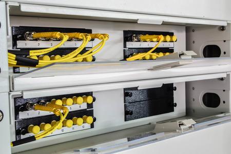 gigabit: optic fiber in rack Stock Photo