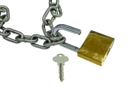 padlock: metal chain and open padlock on white background