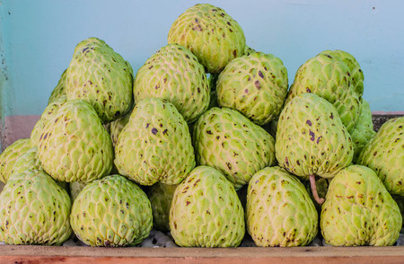 sweetsop: Sweetsop on table for sell, selective focus point.