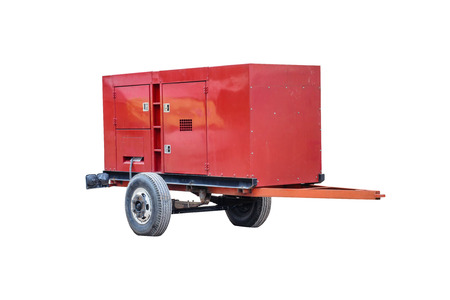 gasoline powered: Red standby generator on a white background