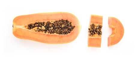 Slice ripe papaya isolated on the white background. Stock Photo