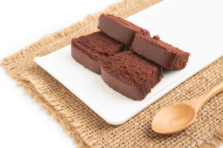 sliced bar cake chocolate slice slices in white background.