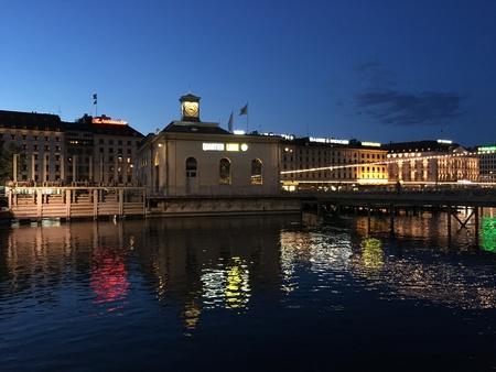 Night Geneva view Stock Photo