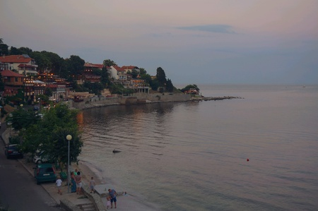 Bulgarian town Nessebar at sunset