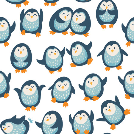 Cartoon seamless pattern with penguins Vector