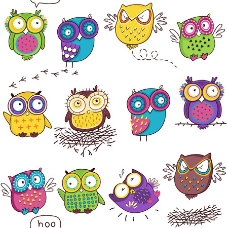 Seamless pattern with color owl in white background Illustration