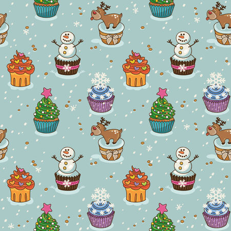 Christmas seamless pattern with cupcakes Vector