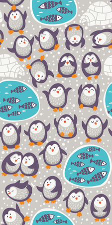 penguin: Cartoon seamless pattern with funny penguins Illustration