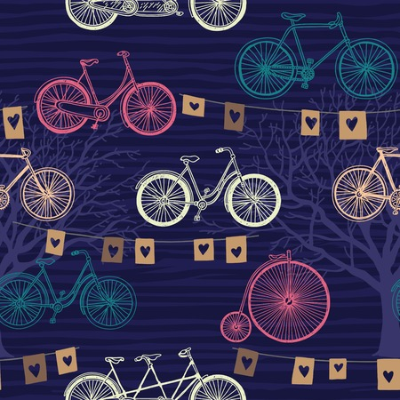 Seamless pattern with retro bicycle, trees and flags. Evening festive background