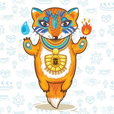 cartoon egyptian: Print with cartoon egyptian fox. Vector illustration Illustration