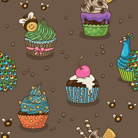 bee party: Vector seamless pattern with cartoon decorative cupcakes