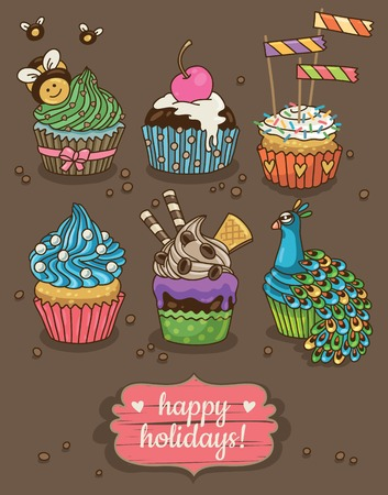 happy holidays card: Cute happy holidays card with cupcakes. Vector illustration