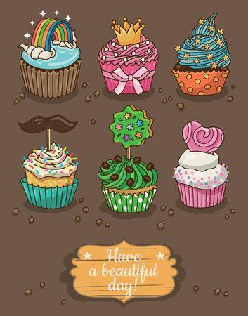 Cute card with cartoon cupcakes. Vector illustration