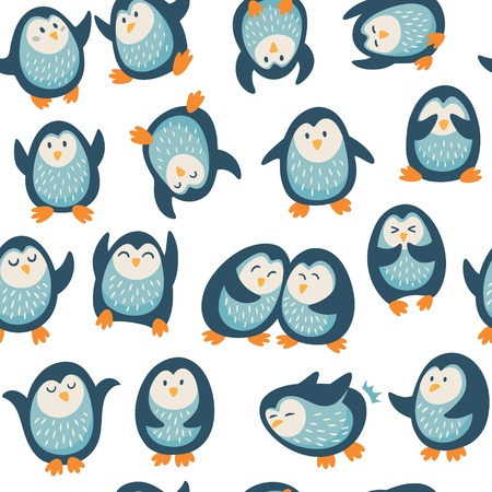 baby background: Seamless cartoon pattern with funny penguins. Vecto illustration
