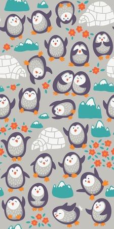 Naadloze cartoon patroon met grappige pinguïns. Vecto illustratie