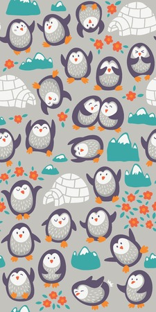 Seamless cartoon pattern with funny penguins. Vecto illustration