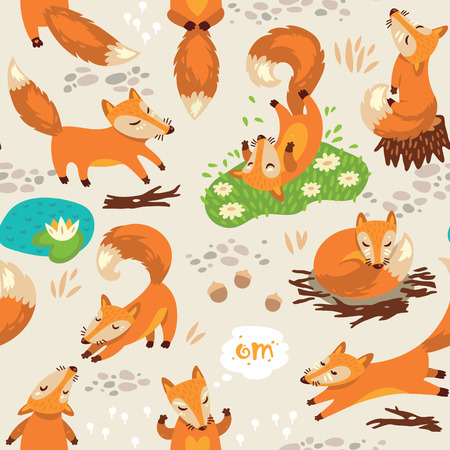 Funny seamless pattern with a cute little fox Illustration