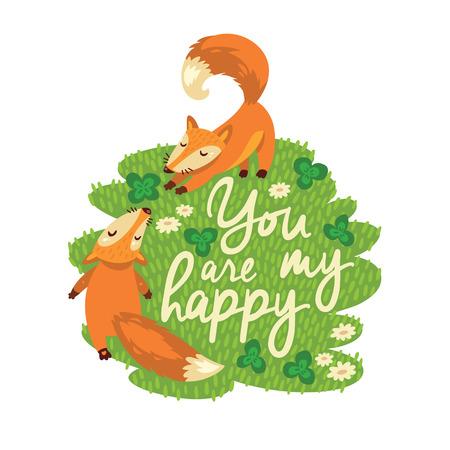 幸せの 2 つのキツネとベクトル カード 写真素材 - 37769310