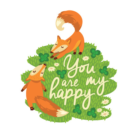 Vector card with two foxes in happy 向量圖像
