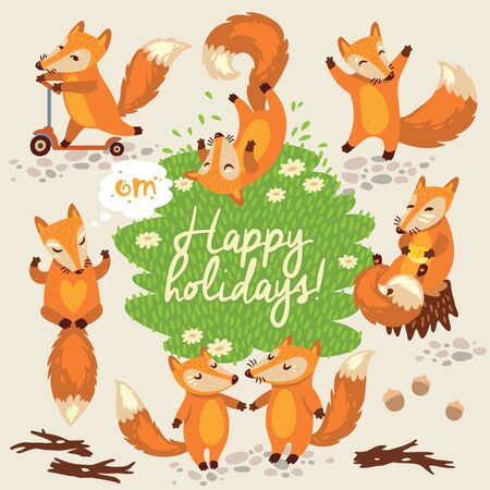 cartoon style: Happy holidays card in cartoon style with funny foxes Illustration