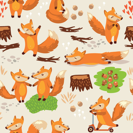 Funny seamless pattern with a cute little fox 向量圖像