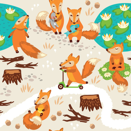 Funny seamless pattern with a cute little fox Çizim