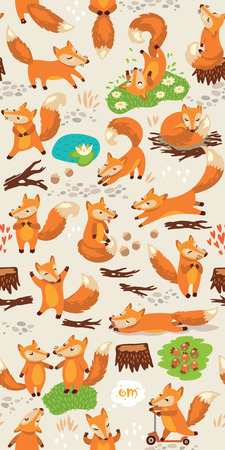 forest: Funny seamless pattern with a cute little foxes